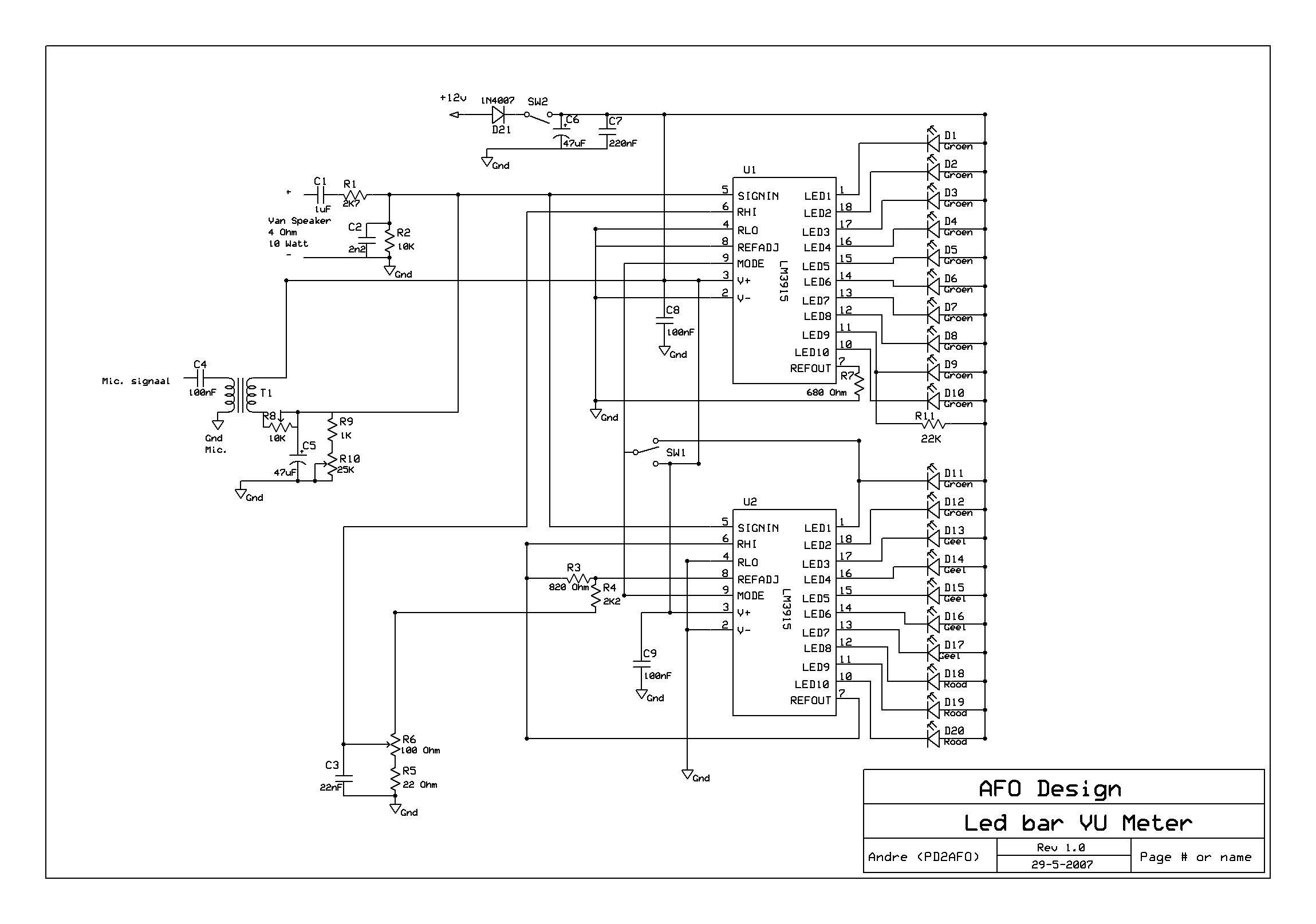 Led Vu Meter Circuit Diagram World 20 Lm3915 Bar Met Leds En Een Hele Hoge Ingangs Versterking